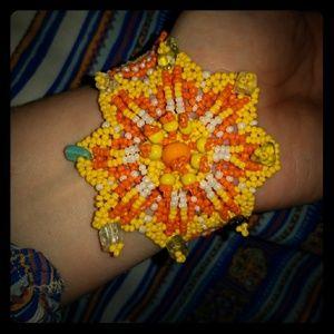 Beaded handmade flower bracelet